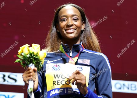 Gold medalist Dalilah Muhammad of the USA during the medal ceremony for the women's 400m Hurdles at the IAAF World Athletics Championships 2019 at the Khalifa Stadium in Doha, Qatar, 05 October 2019.