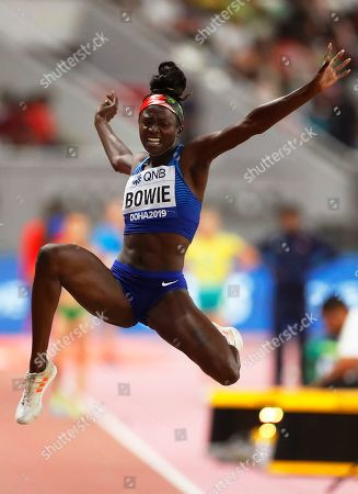 Tori Bowie of the USA in action during the women's Long Jump qualification at the IAAF World Athletics Championships 2019 at the Khalifa Stadium in Doha, Qatar, 05 October 2019.