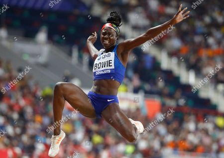 Tori Bowie of the USA competes in the women's Long jump qualification during the IAAF World Athletics Championships 2019 at the Khalifa Stadium in Doha, Qatar, 05 October 2019.