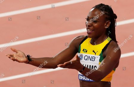 Kimberly Williams of Jamaica competes in the women's Triple jump final during the IAAF World Athletics Championships 2019 at the Khalifa Stadium in Doha, Qatar, 05 October 2019.