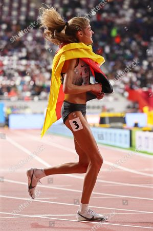 Konstanze Klosterhalfen of Germany celebrates after taking the third place in the women's 5,000m final at the IAAF World Athletics Championships 2019 at the Khalifa Stadium in Doha, Qatar, 05 October 2019.