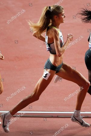 Konstanze Klosterhalfen of Germany is on her way to take the third place in the women's 5,000m final at the IAAF World Athletics Championships 2019 at the Khalifa Stadium in Doha, Qatar, 05 October 2019.