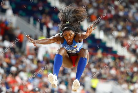 Caterine Ibarguen of Colombia competes in the women's Triple jump final during the IAAF World Athletics Championships 2019 at the Khalifa Stadium in Doha, Qatar, 05 October 2019.