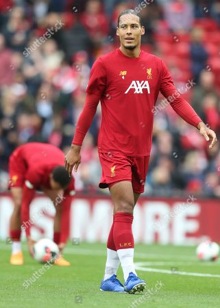 Liverpool's Virgil van Dijk during warmup of the English Premier League soccer match between Liverpool and Leicester City in Anfield stadium in Liverpool, England