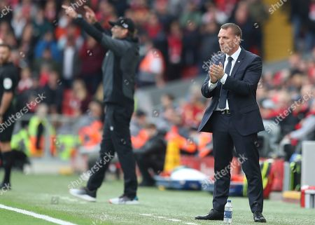 Leicester City's Brendan Rodgers during the English Premier League soccer match between Liverpool and Leicester City in Anfield stadium in Liverpool, England