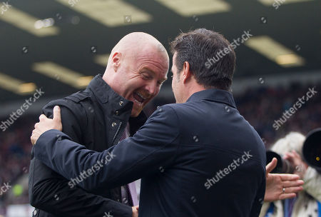 Stock Photo of Burnley manager Sean Dyche and Everton manager Marco Silva (R) before the match
