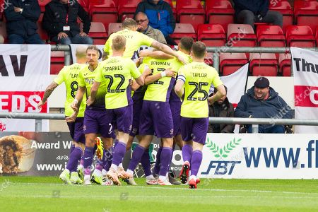 Stock Picture of Exeter City defender Dean Moxey celebrate his goal with team-mates during the EFL Sky Bet League 2 match between Crewe Alexandra and Exeter City at Alexandra Stadium, Crewe