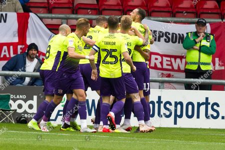 Stock Photo of Exeter City defender Dean Moxey celebrate his goal with team-mates during the EFL Sky Bet League 2 match between Crewe Alexandra and Exeter City at Alexandra Stadium, Crewe