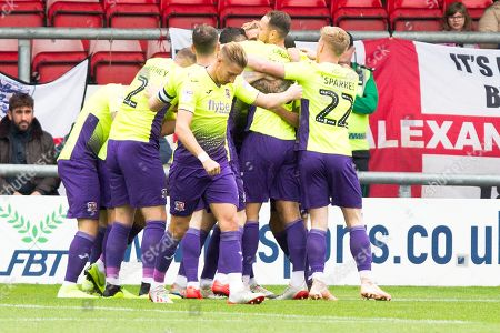 Stock Image of Exeter City defender Dean Moxey celebrate his goal with team-mates during the EFL Sky Bet League 2 match between Crewe Alexandra and Exeter City at Alexandra Stadium, Crewe