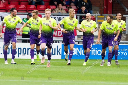 Exeter City defender Dean Moxey celebrate his goal with team-mates during the EFL Sky Bet League 2 match between Crewe Alexandra and Exeter City at Alexandra Stadium, Crewe