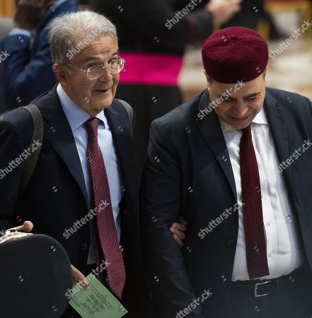 Stock Picture of Italian former Prime Minister Romano Prodi (L), during the ordinary public Consistory for the creation of new Cardinals in Saint Peter's Basilica at the Vatican, 05 October 2019.