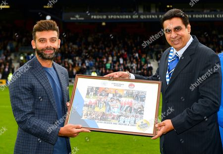 Commercial and Marketing  Amit Bhatia QPR Chairman with Mumbai Challenger director on the pitch at half time