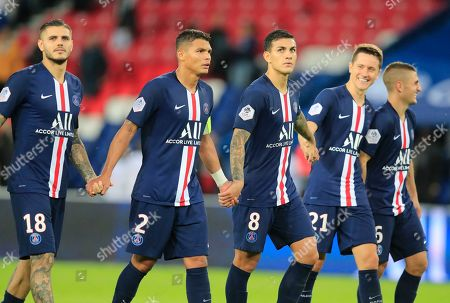 From left to right, PSG's Mauro Icardi, Thiago Silva, Leandro Paredes, Ander Herrera and Marco Verratti acknowledge applauses after the French League One soccer match between PSG and Angers at the Parc des Princes stadium in Paris, . PSG won 4-0