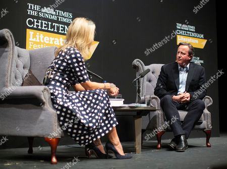 David Cameron in conversation with Sophie Raworth at the Cheltenham Literature Festival.