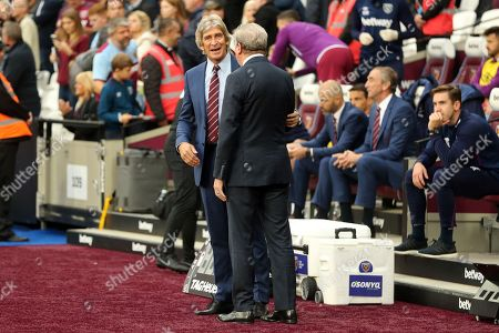 Crystal Palace manager Roy Hodgson and West Ham United manager Manuel Pellegrini during West Ham United vs Crystal Palace, Premier League Football at The London Stadium on 5th October 2019