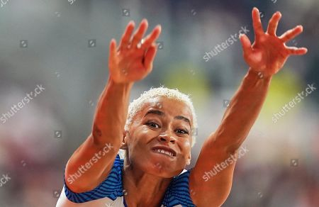 Jazmin Sawyers of United Kingdom competing in long jump for women during the 17th IAAF World Athletics Championships at the Khalifa Stadium in Doha, Qatar