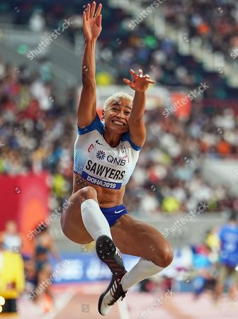 Stock Photo of Jazmin Sawyers of United Kingdom competing in long jump for women during the 17th IAAF World Athletics Championships at the Khalifa Stadium in Doha, Qatar