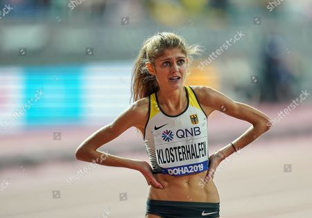 Konstanze Klosterhalfen of Germany after winning bronze in the 5000 meter for women during the 17th IAAF World Athletics Championships at the Khalifa Stadium in Doha, Qatar