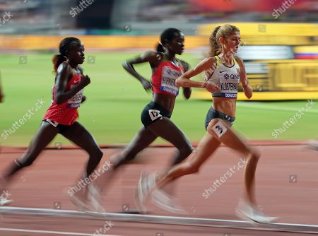 Konstanze Klosterhalfen of Germany during the 5000 meter for women during the 17th IAAF World Athletics Championships at the Khalifa Stadium in Doha, Qatar