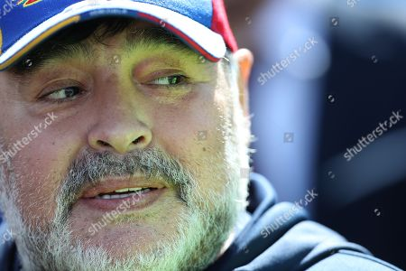 Gimnasia's head coach Diego Maradona during a game of the Argentine Superliga between Godoy Cruz of Mendoza and Gimasia of La Plata, at the Malvinas Argentinas Stadium of Mendoza, Argentina, 05 October 2019.