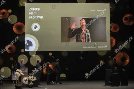 """Darius Marder receives the golden eye for his movie """"Sound of Metal"""" in the category """"International Feature Film"""" during the Award Night ceremony of the 15th Zurich Film Festival (ZFF) in Zurich, Switzerland, 05 October 2019. The festival runs from 26 September to 06 October 2019."""