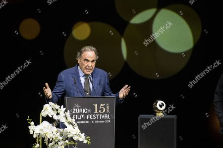 Stock Image of Oliver Stone speaks during the Award Night ceremony of the 15th Zurich Film Festival (ZFF) in Zurich, Switzerland, 05 October 2019. The festival runs from 26 September to 06 October 2019.