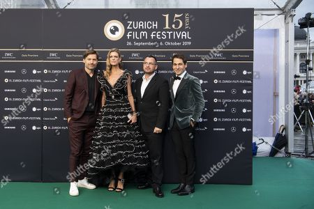 Nikolaj Coster-Waldau, Nadja Schildnecht, director of the ZFF, Jonas Alexander Arnby, film director, and Karl Spoerri, director of the ZFF, pose on the Green Carpet during the 15th Zurich Film Festival (ZFF) in Zurich, Switzerland, 05 October 2019. The festival runs from 26 September to 06 October 2019.