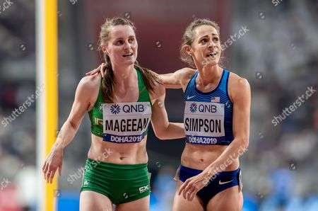 Stock Image of Ireland's Ciara Mageean with American Jenny Simpson after running in the the Women's 1500m Final