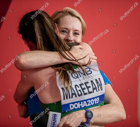 Ireland's Ciara Mageean is hugged by former spring great Derval O'Rourke after the Women's 1500m Final