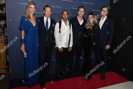 Stock Image of Tommy Hilfiger, Dee Ocleppo, Lewis Hamilton, Daniel Grieder and sons Mike Grieder and Tim Grieder