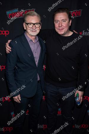 "Josh Corbin, Warren Littlefield. Warren Littlefield, left, and Josh Corbin attend New York Comic Con to promote Hulu's ""Reprisal"" at the Jacob K. Javits Convention Center, in New York"