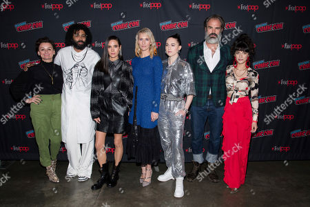 "Alison Wright, from left, Daveed Diggs, Jennifer Connelly, Mickey Sumner, Lena Hall, Steven Ogg and Sheila Vand attend New York Comic Con to promote TNT's ""Snowpiercer"" at the Hammerstein Ballroom, in New York"