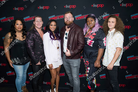 "Nyla Rose, Chris Jericho, Brandi Rhodes, Jon Moxley, Awesome Kong, Jungle Boy. Nyla Rose, left, Chris Jericho, Brandi Rhodes, Jon Moxley, Awesome Kong and Jungle Boy attend New York Comic Con to promote TNT's ""All Elite Wrestling: Dynamite"" at the Jacob K. Javits Convention Center, in New York"