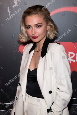 "Sophie Simnett attends New York Comic Con to promote Netflix's ""Daybreak"" at the Jacob K. Javits Convention Center, in New York"