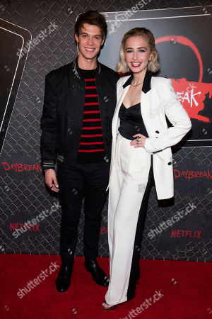 "Sophie Simnett, Colin Ford. Colin Ford and Sophie Simnett attend New York Comic Con to promote Netflix's ""Daybreak"" at the Jacob K. Javits Convention Center, in New York"