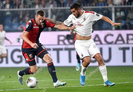 Genoa's Lukas Lerager (L) and Milan's Theo Hernandez in action during the Italian Serie A soccer match Genoa CFC vs AC Milan at the Luigi Ferraris stadium in Genoa, Italy, 05 October 2019.
