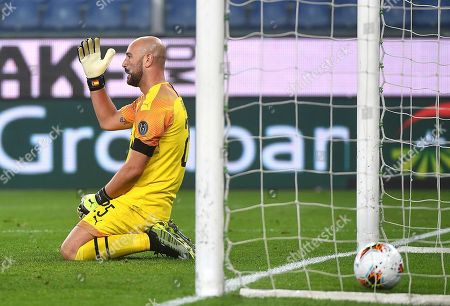 Stock Image of Milan's goalkeeper Pepe Reina shows his dejection after Genoa's Lasse Schone scored during the Italian Serie A soccer match Genoa CFC vs AC Milan at the Luigi Ferraris stadium in Genoa, Italy, 05 October 2019.