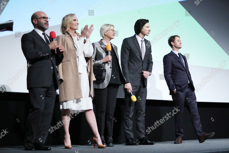 Scott Z Burns, Jennifer Fox, Annette Bening, Adam Driver and Daniel J Jones at the Post-Screening Q&A, at Embankment Garden Cinema.