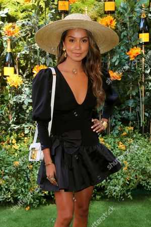 Julie Sarinana attends the 10th Annual Veuve Clicquot Polo Classic at Will Rogers State Historic Park, in Los Angeles, Calif