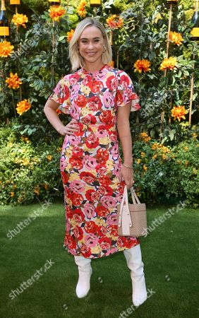 Becca Tobin attends the 10th Annual Veuve Clicquot Polo Classic at Will Rogers State Historic Park, in Los Angeles, Calif