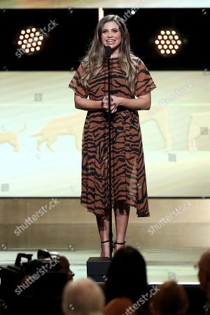 Stock Photo of Danielle Fishel speaks at the 2019 American Humane Hero Dog Awards at The Beverly Hilton, in Beverly Hills, Calif. The 2019 American Humane Hero Dog Awards airs October 21, at 8pm ET/PT on Hallmark Channel
