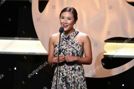 Ally Maki speaks at the 2019 American Humane Hero Dog Awards at The Beverly Hilton, in Beverly Hills, Calif. The 2019 American Humane Hero Dog Awards airs October 21, at 8pm ET/PT on Hallmark Channel