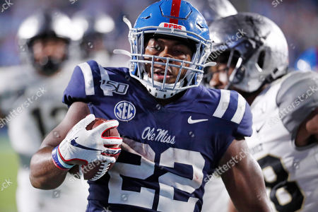 Mississippi running back Scottie Phillips (22) hears into the end zone on a 24-yard touchdown run during the second half of an NCAA college football game against Vanderbilt in Oxford, Miss., . Mississippi won 31-6