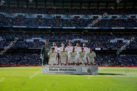 Alphonse Areola, Sergio Ramos, Toni Kroos, Raphael Varane, Carlos Henrique Casimiro, Karim Benzema, Alvaro Odriozola, Gareth Bale, Dani Carvajal, Fede Valverde and Eden Hazard