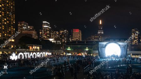 Stock Picture of Nuit Blanche Festival in the downtown district featuring the piece 'Lunar Garden' by Daniel Arsham