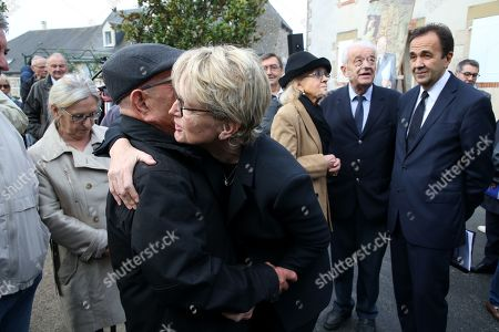 Claude Chirac and her husband Frederic Salat-Baroux attend a memorial to her late father, the former French President.
