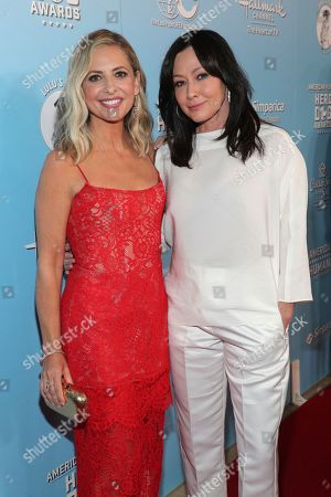 Stock Photo of Sarah Michelle Gellar, Shannen Doherty. Sarah Michelle Gellar, left, and Shannen Doherty are seen at the 2019 American Humane Hero Dog Awards at The Beverly Hilton, in Beverly Hills, Calif. The 2019 American Humane Hero Dog Awards airs October 21, at 8pm ET/PT on Hallmark Channel
