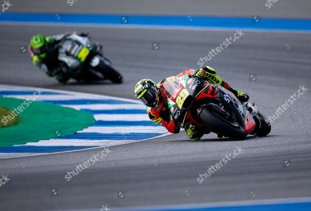 Italian MotoGP rider Andrea Iannone of Aprilia Racing Team Gresini in action during the Motorcycling Grand Prix of Thailand at Chang International Circuit, Buriram province, Thailand, 06 October 2019.