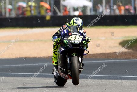 Italian MotoGP rider Valentino Rossi of Monster Energy Yamaha MotoGP Team in action during the Motorcycling Grand Prix of Thailand at Chang International Circuit, Buriram province, Thailand, 06 October 2019.