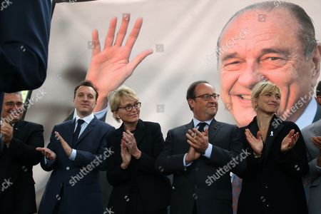 Stock Picture of Martin Rey-Chirac, Claude Chirac, Francois Hollande, Julie Gayet.